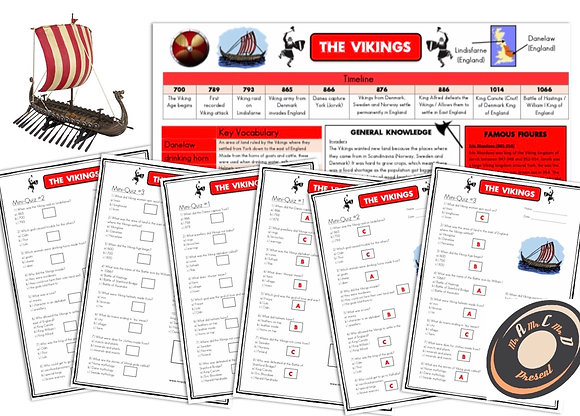 Vikings - Knowledge Organiser and Mini-Quizzes
