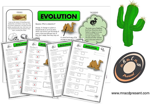 Evolution (Year 6) - Knowledge Organiser and Mini-Quizzes