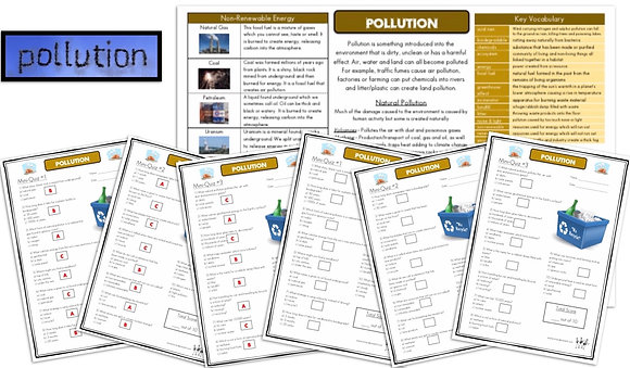 Pollution - Knowledge Organiserand Mini-Quizzes