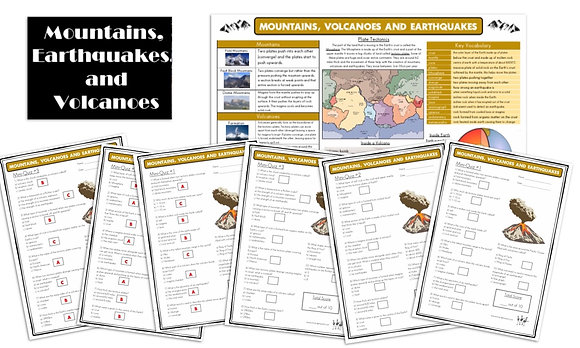 Mountains, Volcanoes and Earthquakes - Knowledge Organiserand Mini-Quizzes