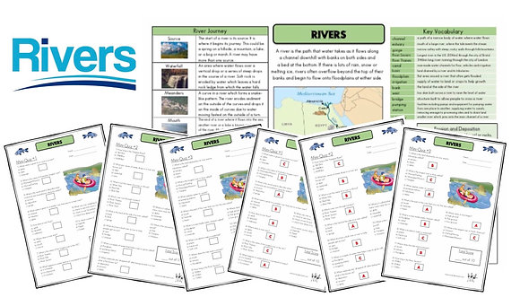 Rivers - Knowledge Organiser and Mini-Quizzes