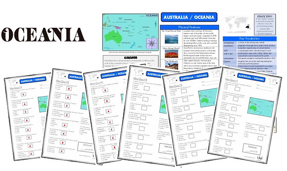 Australia and Oceania - Knowledge Organiser and Mini-Quizzes