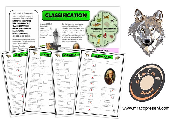 Classification (Year 6) - Knowledge Organiser and Mini-Quizzes