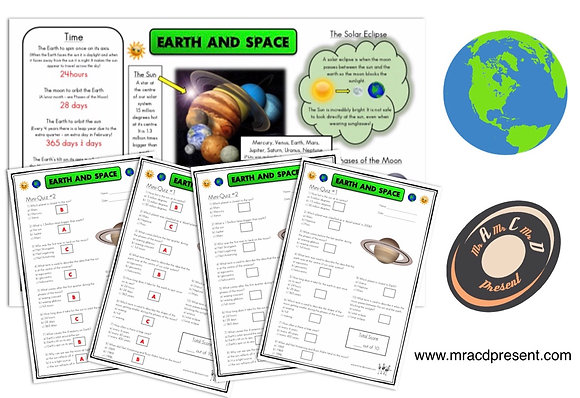 Earth and Space (Year 5) - Knowledge Organiser and Mini-Quizzes