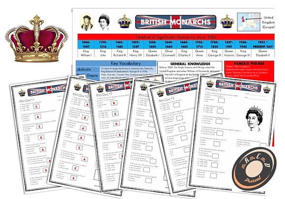 British Monarchs- Knowledge Organiser and Mini-Quizzes