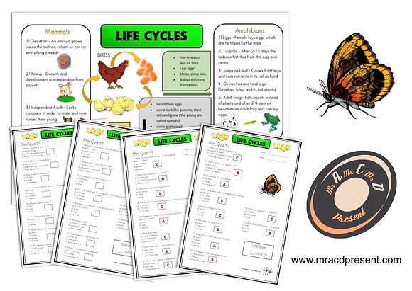 Life Cycles(Year 5) - Knowledge Organiser and Mini-Quizzes