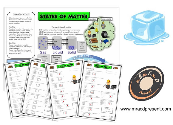 States of Matter (Year 4) - Knowledge Organiser and Mini-Quizzes
