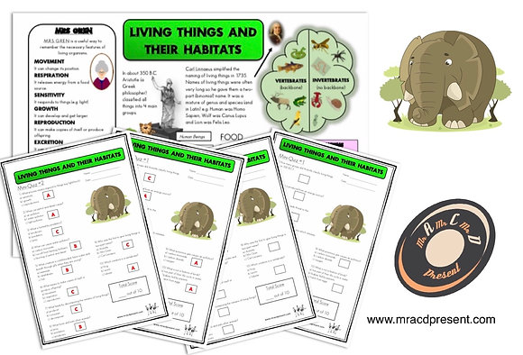 Living Things and their Habitats (Year 4) - Knowledge Organiser and Mini-Quizzes