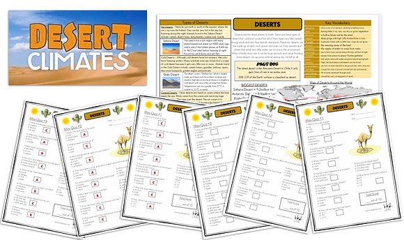 Deserts - Knowledge Organiserand Mini-Quizzes
