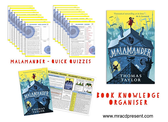 Malamander - Book Knowledge Organiser and Quick Quizzes