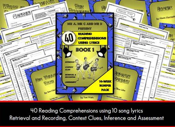 40 Lyric Reading Comprehensions - Book 1