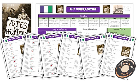 Suffragettes - Knowledge Organiser and Mini-Quizzes