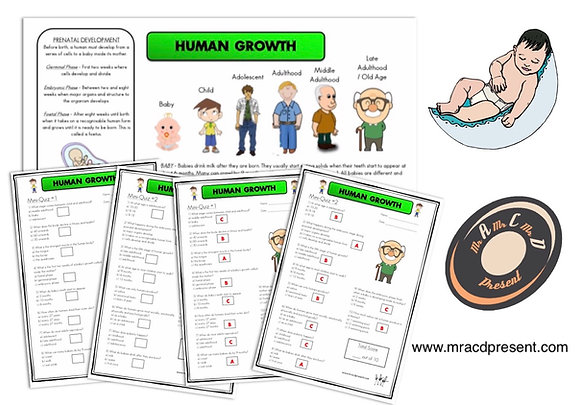 Human Growth (Year 5) - Knowledge Organiser and Mini-Quizzes