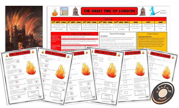 The Great Fire of London- Knowledge Organiser and Mini-Quizzes