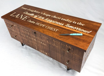 """Madison Hager All your Hopes  woodcarving on found furniture  19"""" x 17"""" x 43"""" 2021"""