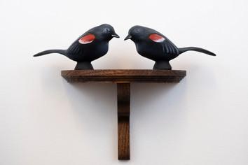 "Robert Martin Red-Winged Blackbird Pair oil paint, slip-cast porcelain, custom oak shelf 11"" x 5"" x 10"" 2019"