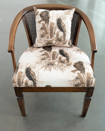 """Robert Martin Cattail Chairreclaimed chair reupholstered with custom print on soft-touch velvet (from original watercolor and ink illustration) with matching pillow24 x 24 x 29""""2019"""