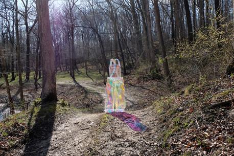 "Heidi Zenisek Dear Iowa, Wish You Were Here. H(ope) You Are Well Sewn holographic film 48"" x 24"" x 15"" 2021"