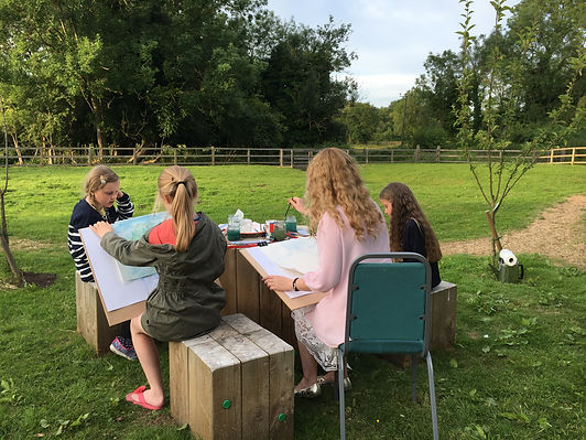 childrens art classes, landscape course, watercolours, children drawing en plein air, art school for children, art courses for children in Norwich