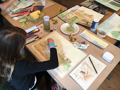 watercolours, art classes, children drawing, norwich art classes, children painting, landscape, holiday club, art workshop