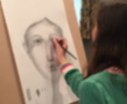 drawing, portraiture, art workshop, holiday club, art classes, children, young people, painting, face proportions, fine art for children, norwich, portraiture, sketching face