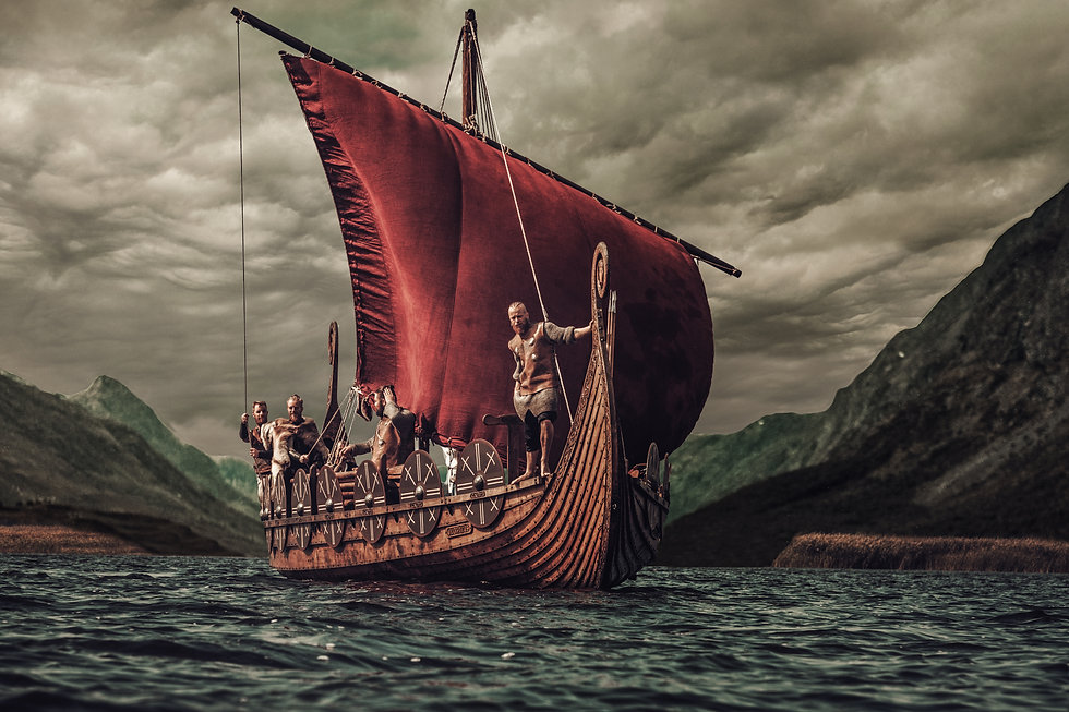 Group of vikings are floating on the sea