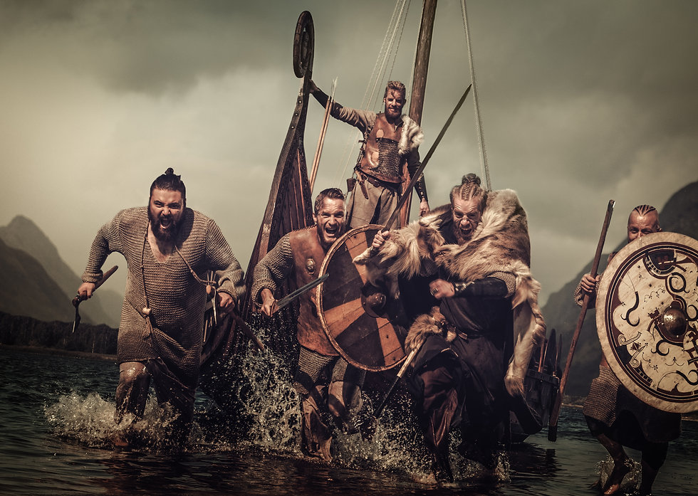 Vikings warriors in the attack, running