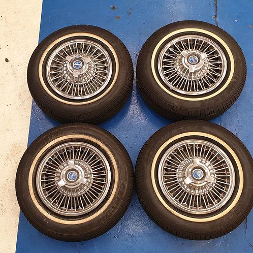"Kelsey Hayes style 15"" wire wheels"
