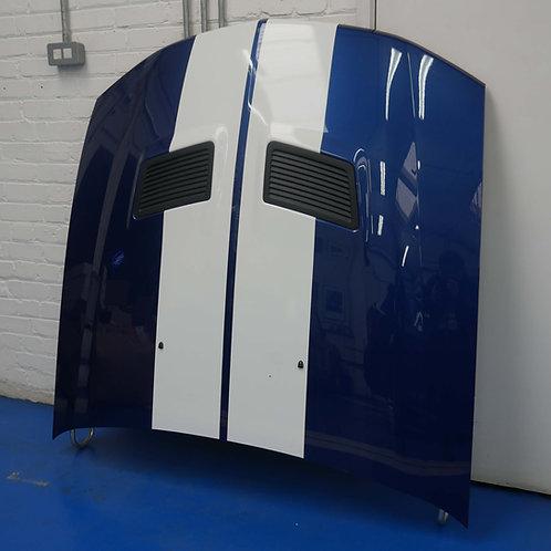 S197 - GT500 Hood in Vista Blue w/white stripes