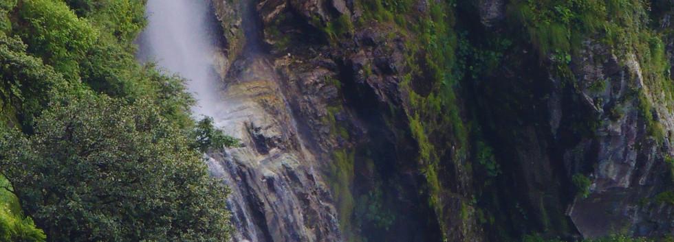 waterfall below the house