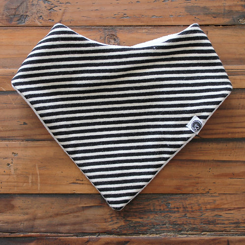 BLACK STRIPE DRIBBLE BIB (KNIT)