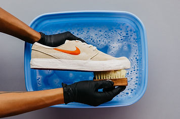 Shoe Brush Soapy Water Bucket Gloves Hands