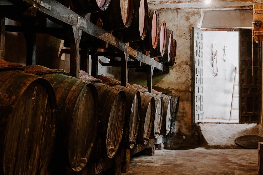 Viejos toneles de roble con vino fondillon