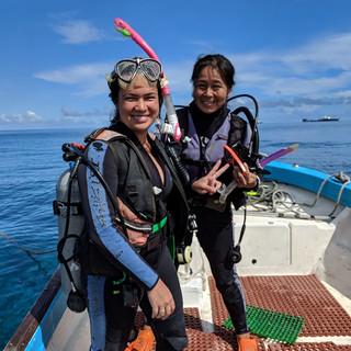 Dr. Bernie and Yumi on a scuba trip (2019)