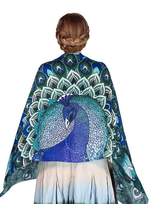 Scarf/Wrap Silk Satin Peacock