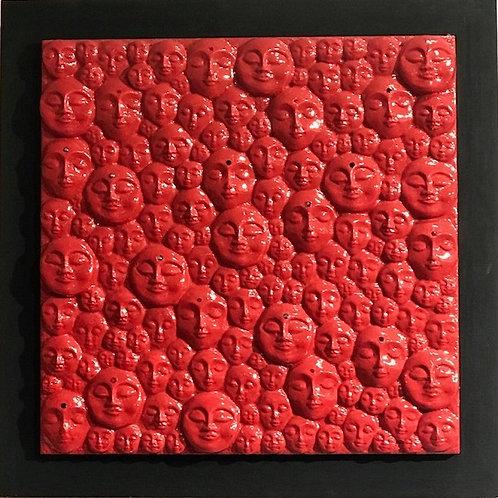Red Faces 12x12 Original byJennifer The Artist