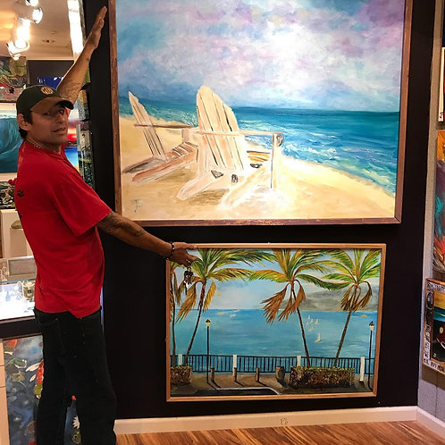View from Paradise - 48x60 Original  in barnwood frame by James Freeborne Welch