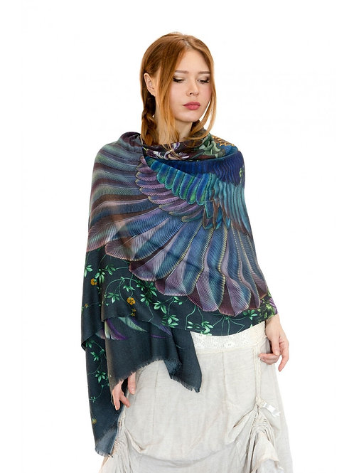 Scarf/Wrap Blue Electric Wings Silk Satin