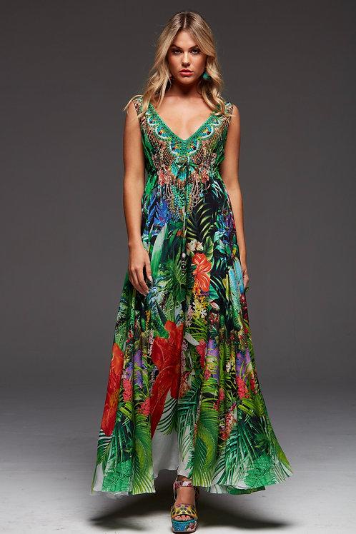 Maxi Dress Long Tropical Halo