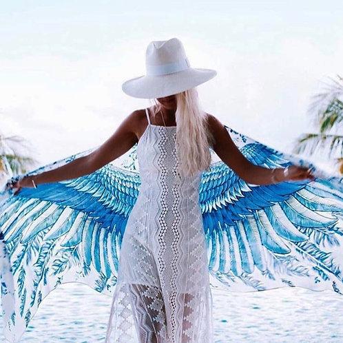 Scarf/Wrap Blue Wings Silk Satin
