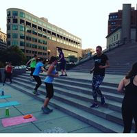 Running stairs at bootcamp class!