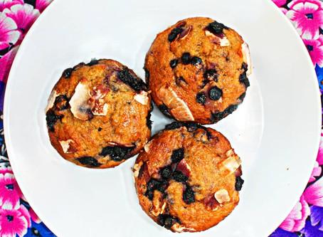 Borůvkovo kokosové muffiny