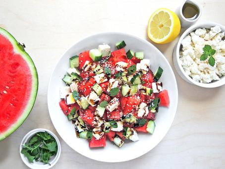 Melounvý salát s balkánským sýrem