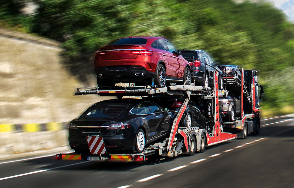 Hauling cars. A car carrier trailer, kno