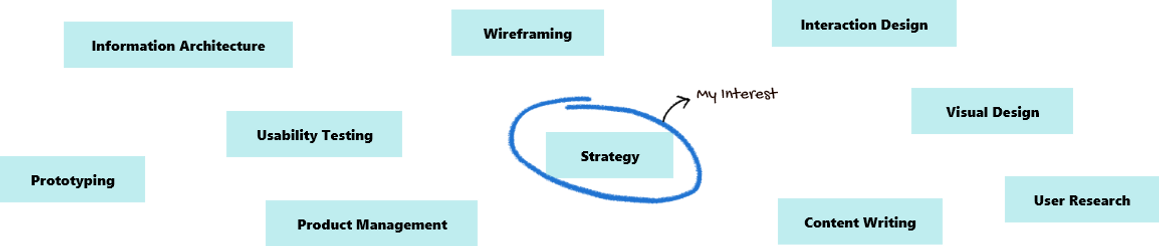 Image of showing different UX fields and Strategy  marked as My Interest