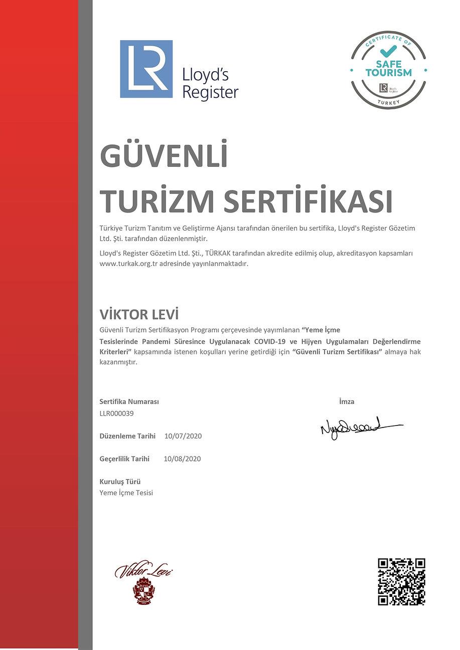 Viktor Levi Lloyd's Register Güvenli Turizm sertifikası Türkçe