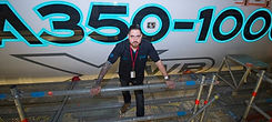 LumiLor applicator Pete Gonzales with airbus A350 light up paint on aircraft