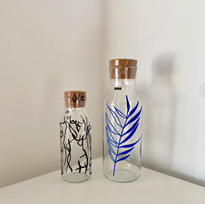 Painted Leaf Glass Carafe