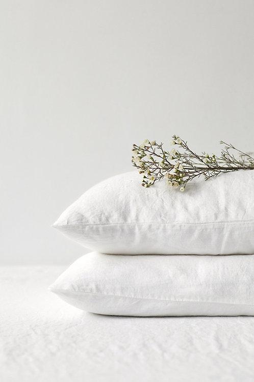 Leinen Kissenbezug White 50x60