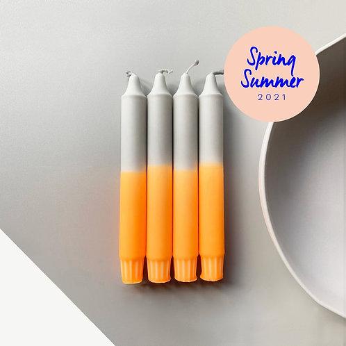 DipDye Tafelkerze 19cm Neon Orange x Grau